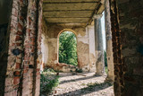 Haunted mansion, abandoned ancient building inside interior with arch windows - 183683796