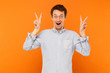 Quadro Peace sign. Happiness young adult man showing peace sign at camera