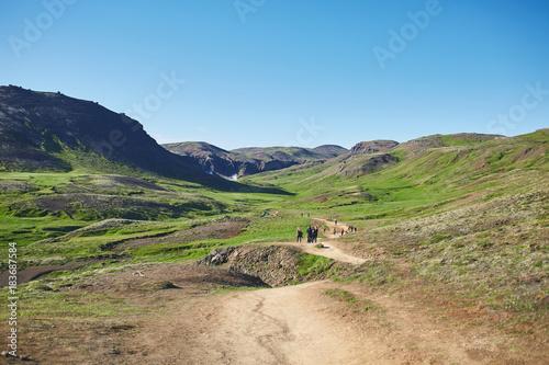 Fotobehang Blauw Valley of the river of Hveragerdi Iceland