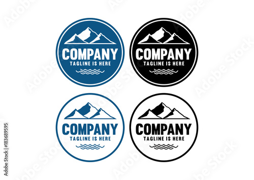 Simple Black and Blue Hill Mountain and Wave on the Ocean Vintage Circle Logo Company Set