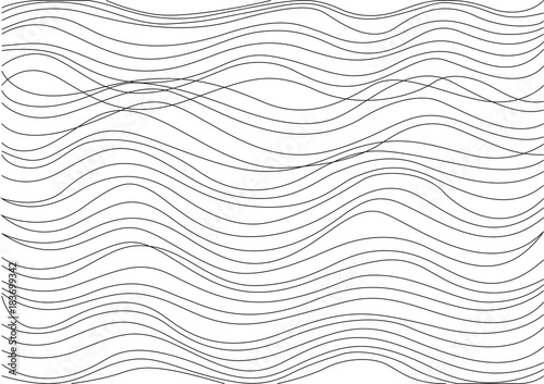 Tuinposter Abstract wave Black lines, white background