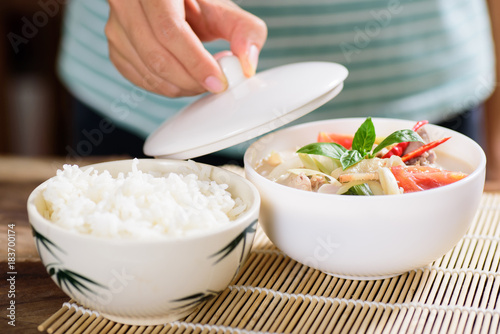 Sticker Thai food (Tom Kha Kai), Thai coconut milk soup with chicken and cooked rice