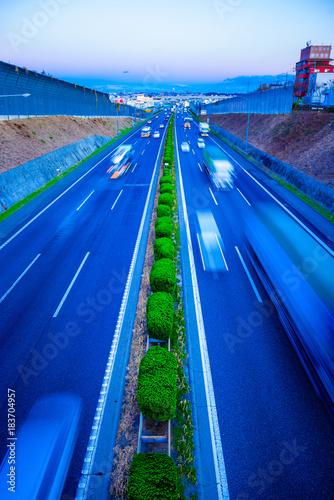 Plexiglas Donkerblauw 高速道路 ハイウェイ