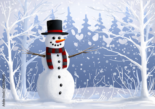Snowman on snow-covered glade in forest. The winter vacation. Christmas and New Year illustration