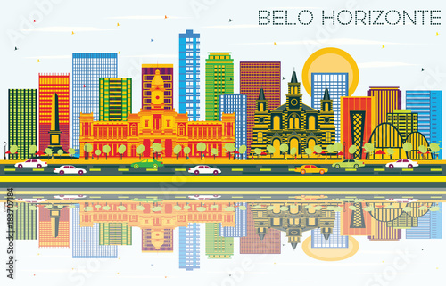 Belo Horizonte Brazil Skyline with Color Buildings, Blue Sky and Reflections.
