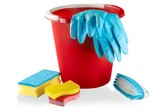 Bucket with Rubber Gloves,Sponges and Brush - Isolated - 183711323
