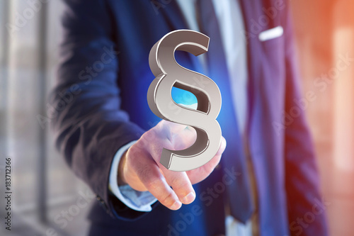 Fototapeta Justice and law symbol displayed on a futuristic interface - 3d rendering