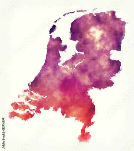 Foto op Canvas Bloemen vrouw Netherlands watercolor map in front of a white background