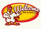 chicken rooster mascot happy