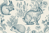 Fototapety Seamless pattern with animals and flowers.