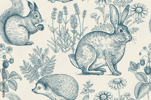 Seamless pattern with animals and flowers. - 183718110