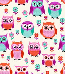 seamless cartoon owls pattern