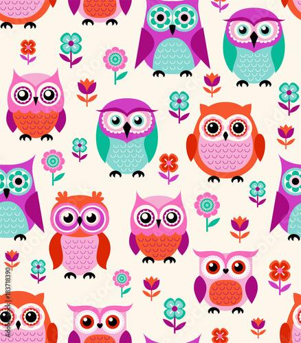 Fototapeta seamless cartoon owls pattern
