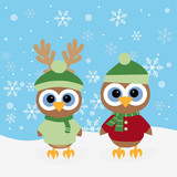 christmas background with owls
