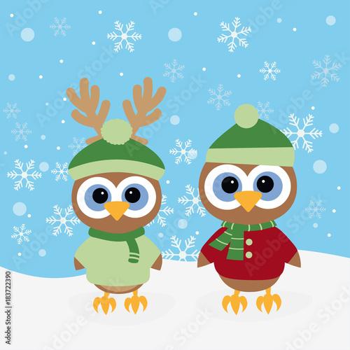 Foto op Aluminium Uilen cartoon christmas background with owls