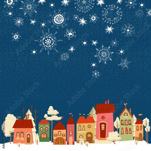 Aluminium Nachtblauw Christmas and new year card. Christmas tree.