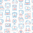 Internet of things seamless pattern with thin line icons: laptop, smart watch, cloud computing technology, kettle, speaker, smart car, robot vacuum. Vector illustration.