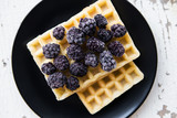 Delicious and beautiful Belgian waffles with blackberries. - 183724720