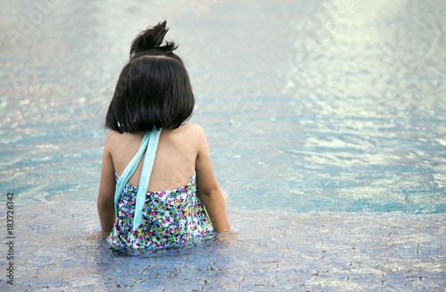 Sticker back of girl on pool