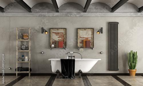 Bathroom in industrial style with bathtub