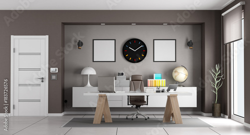 White and brown modern office
