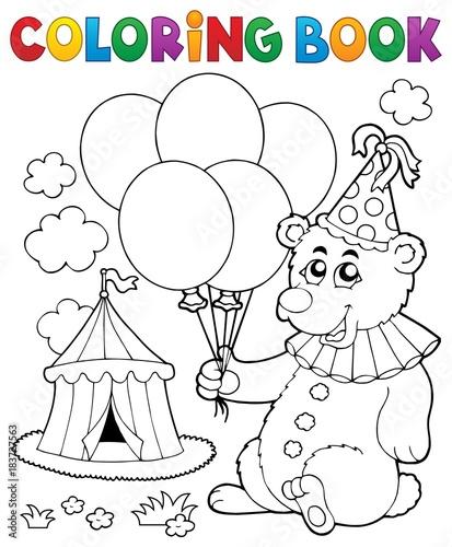 Papiers peints Enfants Coloring book bear with balloons