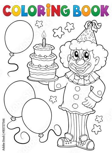 Papiers peints Enfants Coloring book clown holding cake