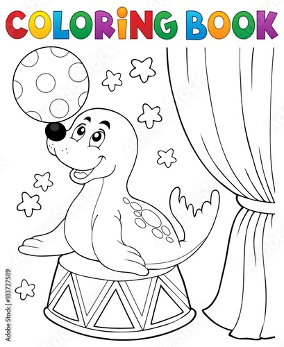 Papiers peints Enfants Coloring book seal playing with ball