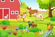 Animals life on the farm. Horizontal illustration for children books. - 183731370