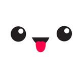 Cute cartoon funny kawaii face head emotion. White square icon showing tongue. Happy emoji. Flat design style. - 183735135