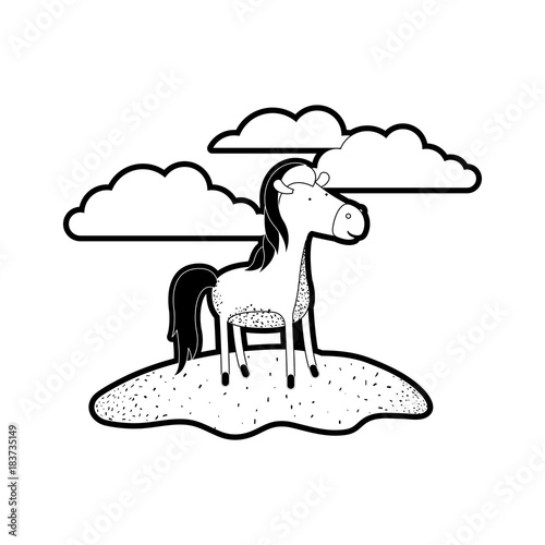 Plexiglas Boerderij horse cartoon in outdoor scene with clouds in black silhouette with thick contour vector illustration