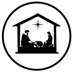Christmas Christian nativity scene with baby Jesus in the manger in silhouette, and star of Bethlehem vector eps 10