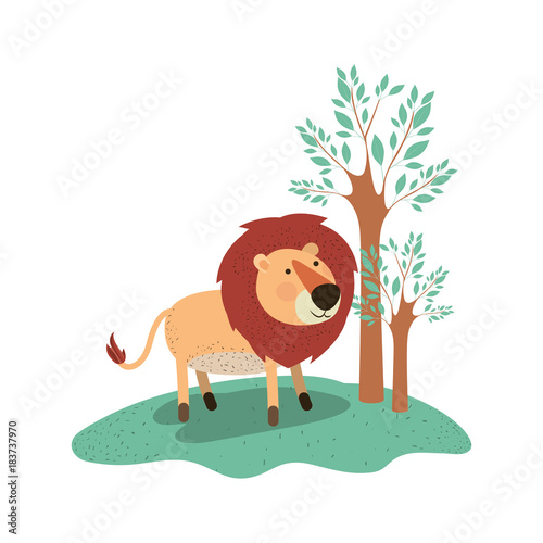 lion cartoon in forest next to the trees in colorful silhouette vector illustration