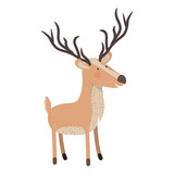 deer cartoon with long horns colorful silhouette in white background vector illustration - 183738906