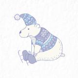 Funny polar bear. Nursery art. Minimalist scandinavian style.