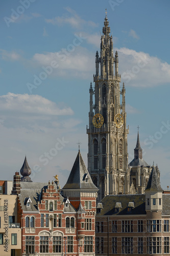 Fotobehang Antwerpen View of a cathedral of our lady in Antwerp Belgium.