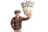 Elderly man showing bundles of money - 183740942