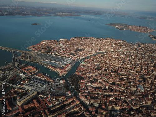 Poster Groen blauw Venedig aus der Luft