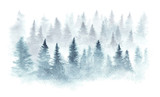 Winter forest in a fog painted in watercolor. - 183744737