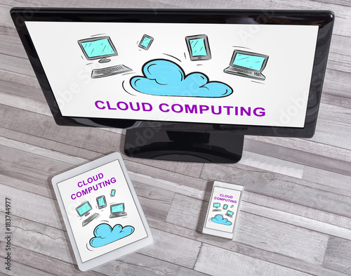 Cloud computing concept on different devices