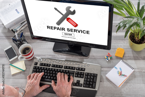 Repair service concept on a computer