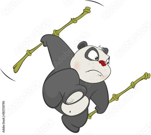 Fotobehang Babykamer Illustration of a Cute Panda. Cartoon Character