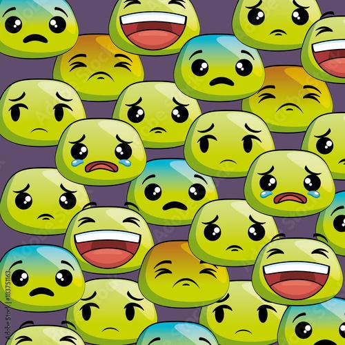 set emoji faces pattern vector illustration design