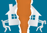 Division of property at divorce. A divorced couple ripping  paper with the symbol of the house. Vector available. - 183752328