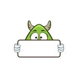 cute monster holding blank sign cartoon illustration