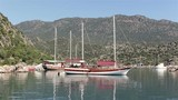 Anchored boat in a bay in front of a mountain - 183755150