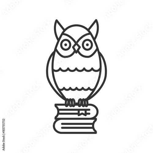 Tuinposter Uilen cartoon Owl on books stack linear icon