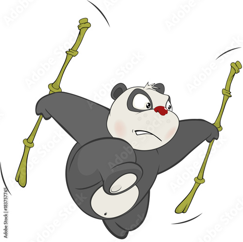 Foto op Canvas Babykamer Illustration of a Cute Panda. Cartoon Character