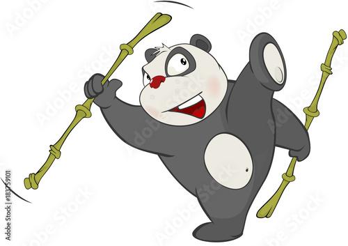 Papiers peints Chambre bébé Illustration of Cute Panda. Cartoon Character