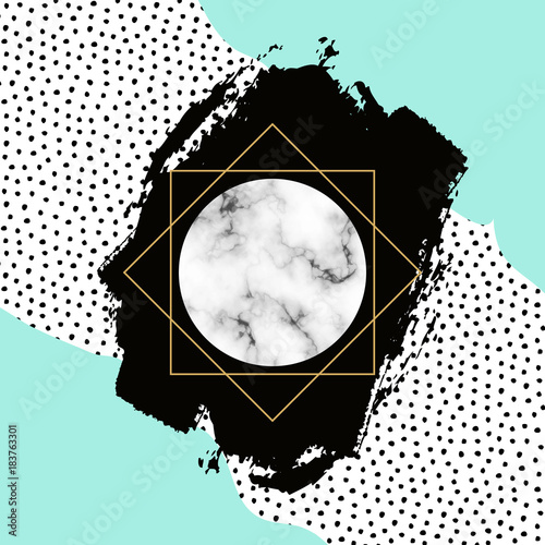 Vector trendy geometric background. Modern scandinavian design for poster, card, invitation template, covers and layouts - 183763301